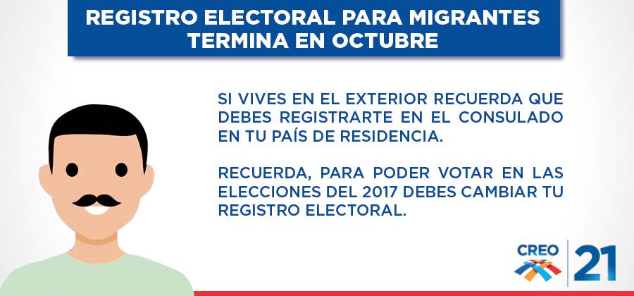 Registro electoral en el exterior culmina en octubre