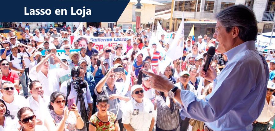 Loja recibió a Guillermo Lasso con concentraciones de respaldo