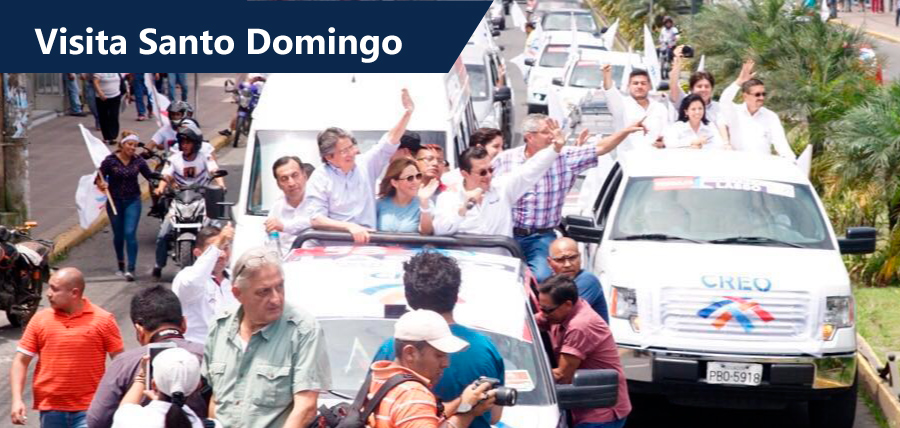 Multitudinario recibimiento a Lasso en Santo Domingo