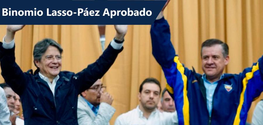Binomio Lasso – Páez fue aprobado por el CNE