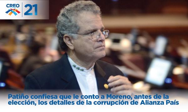 Patiño confiesa que le conto a Moreno, antes de la elección, los detalles de la corrupción de Alianza País