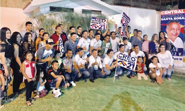 El Frente de Jóvenes CREO en Santa Rosa continúa su trabajo político con las bases en El Oro
