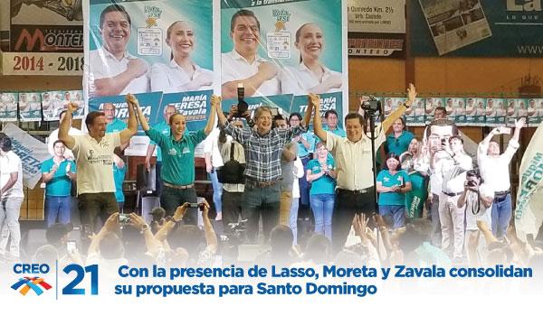 Con la presencia de Lasso, Moreta y Zavala consolidan su propuesta para Santo Domingo