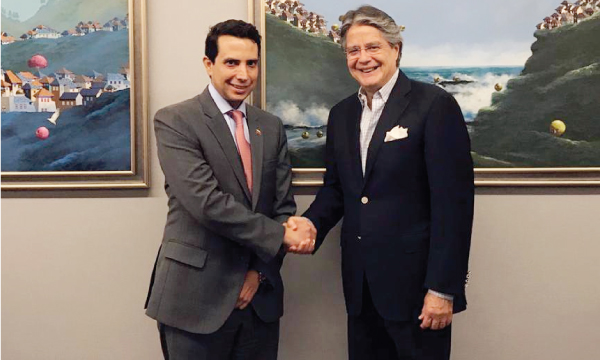 Guillermo Lasso recibe la visita de los representantes del Presidente Venezolano (e) Juan Guaidó