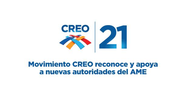 Movimiento CREO reconoce y apoya a nuevas autoridades del AME