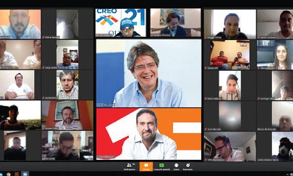 Guillermo Lasso y la estructura de CREO Azuay se reúnen fortalecer acciones humanitarias