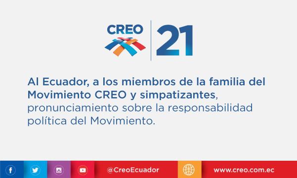 Al Ecuador, a los miembros de la familia del Movimiento CREO y simpatizantes: