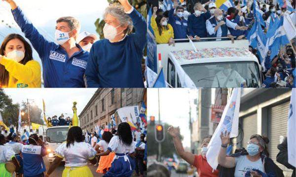 Ibarra se volcó a las calles para respaldar el cambio que ofrece Lasso