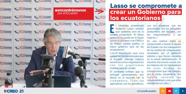 Lasso se compromete a crear un Gobierno para los ecuatorianos