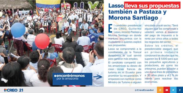 Lasso lleva sus propuestas también a Pastaza y Morona Santiago