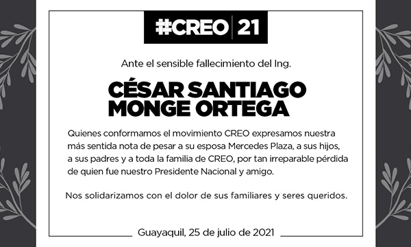 Ante el sensible fallecimiento del Ing. César Monge Ortega