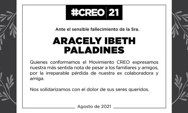 Ante el sensible fallecimiento de la Sra. Aracely Paladines